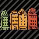 buildings, gamla stan, houses, landmarks, sketch, stockholm, village icon