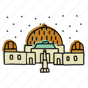 astronomy, buildings, california, griffith observatory, landmarks, los angeles, sketch icon