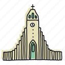 buildings, cathedral, church, hallgrimskirkja, iceland, landmarks, sketch icon