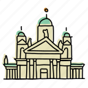 buildings, finland, helsinki cathedral, landmarks, palace, royalty, sketch icon