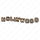 buildings, california, hollywood, landmarks, los angeles, sign, sketch icon