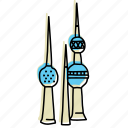 buildings, city, kuwait, landmarks, middle eastern, sketch, towers icon