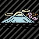 asia, japan, landmarks, mount fuji, mountain, sketch, tokyo icon