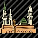 arabia, buildings, landmarks, mosque, prophets, saudi, sketch icon