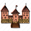 buildings, castle, landmarks, lithuania, medieval, sketch, trakai icon