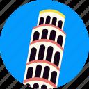 italy, landmark, leaning, pisa, tilt, tilted, tower