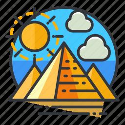 egypt, monuments, pyramids, signatures, sun, world icon