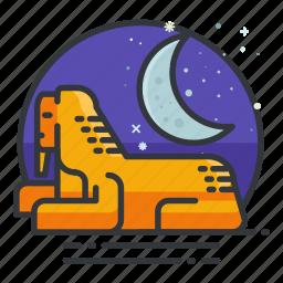 egypt, monuments, moon, night, signatures, sphynx, world icon