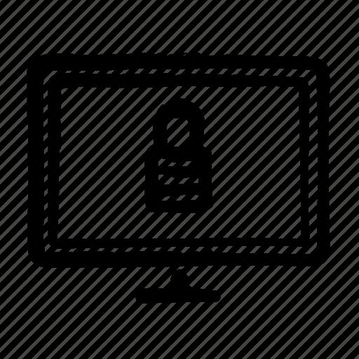 computer, display, internet, locked, technology, web icon
