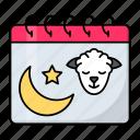 eid al adha, muslims, goat, eid ul adha, crescent, moon, calendar