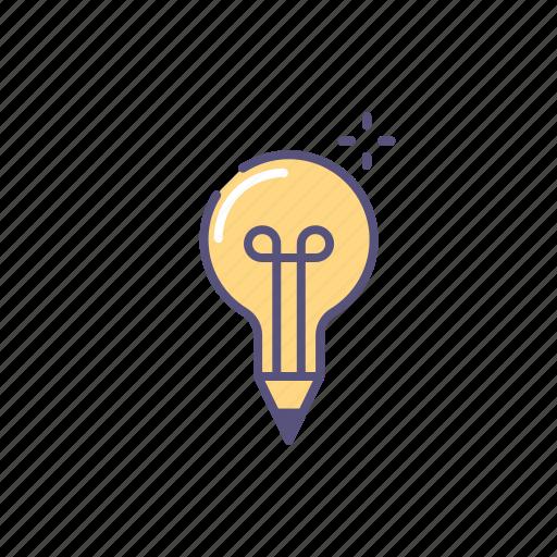 buble, idea, lamp, pencil, writer icon