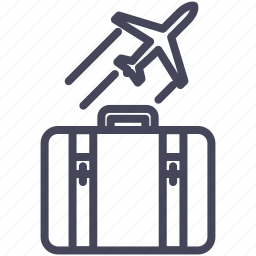aircraft, expenses, fly, holiday, plane, suitcase icon