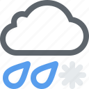 cloud, cloudy, ice, mix, rain, snow, storm, weather icon