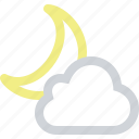 cloud, clouds, cloudy, moon, night, partly, weather icon