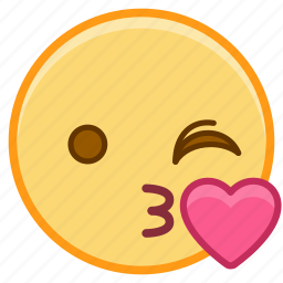 emoji, emotion, face, heart, love, wink icon