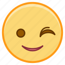 emoji, emoticon, emotion, face, sticker, wink icon