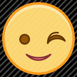 emoji, emoticon, emotion, face, sticker, wink icon