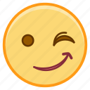 emoji, emotion, face, smile, wink icon