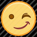 emoji, emotion, face, smile, wink