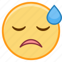 emoji, emoticon, emotion, face, sigh, sticker icon