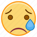 cry, emoji, emoticon, emotion, face, sticker icon