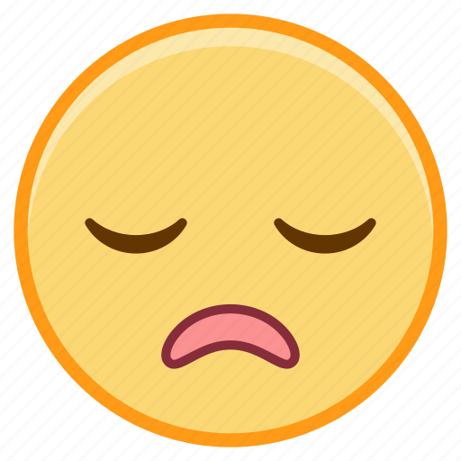 emoji, emotion, face, relief, sigh, tired icon