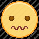 emoji, emoticon, emotion, face, scared