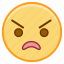 angry, emoji, emoticon, emotion, face, sticker icon