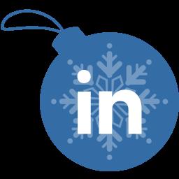 ball, christmas, linkedin icon
