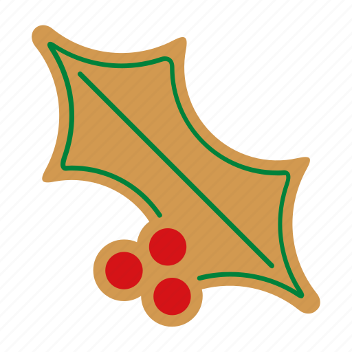 christmas, cookie, food, gingerbread, holly, sweet, xmas icon