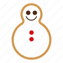 christmas, cookie, food, gingerbread, snowman, sweet, xmas icon