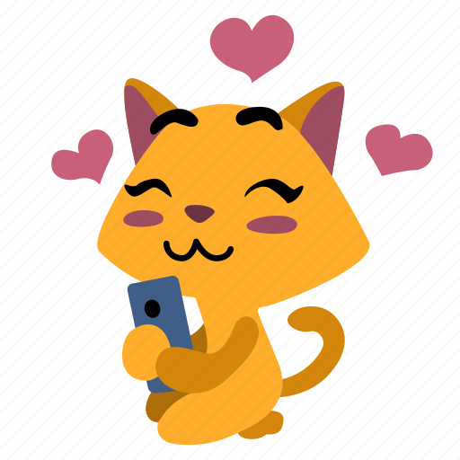 cat, girl, happy, hearts, in love, smart phone, smile icon