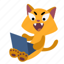 animal, cat, character, computer, happy, laptop, sitting icon