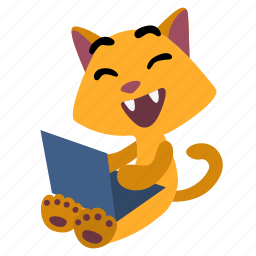 cat, character, computer, fun, laptop, laughing, sitting icon
