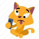 cat, funny, making faces, making selfie, sitting, smart phone, weirdo icon