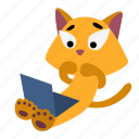 animal, cat, computer, confused, laptop, scared, sitting icon