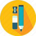 eraser, pencil, school, sharpener, tool, write, writing icon