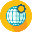 cogwheel, configuration, earth, geography, globe, grid, web icon