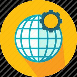cogwheel, configuration, earth, geography, globe, grid, web icon