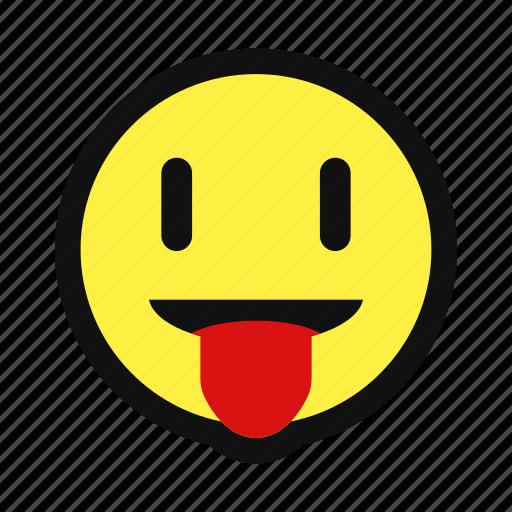 avatar, happy, playful, smile, tongue, yellow icon