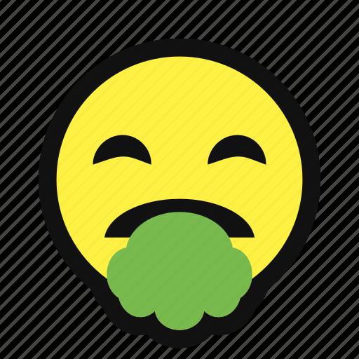 emote, puke, sick, unwell, vomit, yellow icon