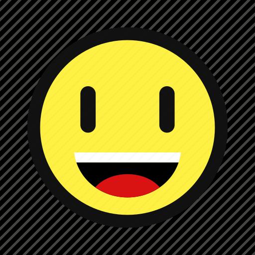 happy, joy, laugh, smile, teeth, yellow icon