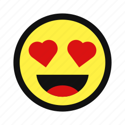 affection, emote, emotion, happy, heart, love, yellow icon