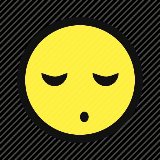 asleep, bored, sleep, snooze, yellow icon
