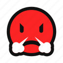 angry, furious, red, smoke, upset, yellow icon