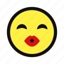 affection, girl, kiss, lips, love, yellow icon