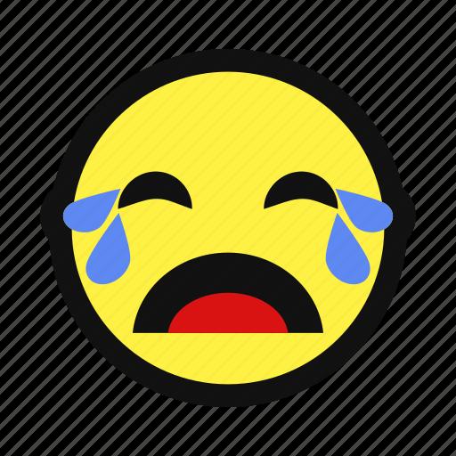 cry, heartbroken, sad, sob, unhappy, yellow icon