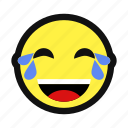 cry, happy, joy, laugh, lol, tear, yellow icon