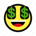 dollar, money, rich, sign, yellow icon