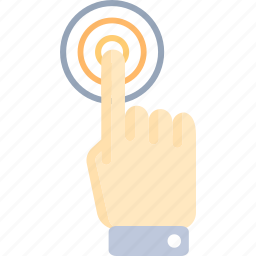 click, finger, gesture, hand, one, outlined, tap icon
